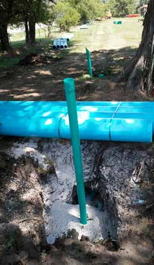 Pipe bore under tree